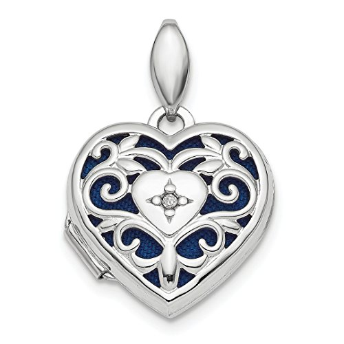 925 Sterling Silver Filigree Diamond Heart Photo Pendant Charm Locket Chain Necklace That Holds Pictures Fine Jewelry For Women Gift Set