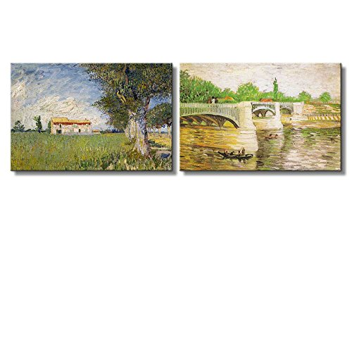 Farmhouse in a Wheat Field The Seine with the Pont de la Grande Jatte by Vincent Van Gogh x 2 Panels