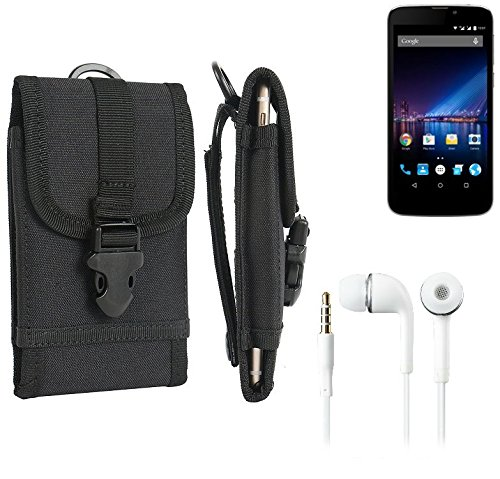 bolsa del cinturón / funda para Phicomm Clue 2S, negro + Auriculares | caja del teléfono cubierta protectora bolso - K-S-Trade (TM)