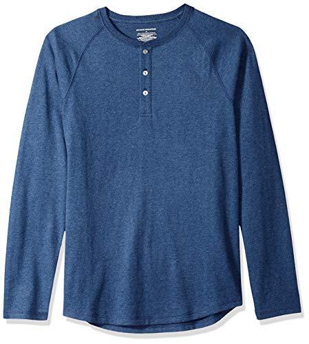 (Amazon Essentials Men's Slim-Fit Long-Sleeve Henley Shirt, Blue Heather, X-Small)