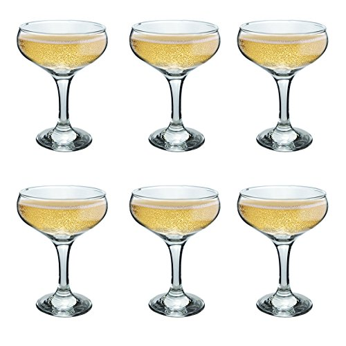 (Rink Drink Champagne Glasses Vintage Coupe Glass Saucer - 200ml - Pack of 6)