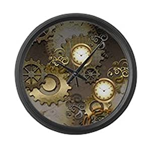 CafePress – Steampunk, Clocks and Gears – Large 17″ Round Wall Clock, Unique Decorative Clock