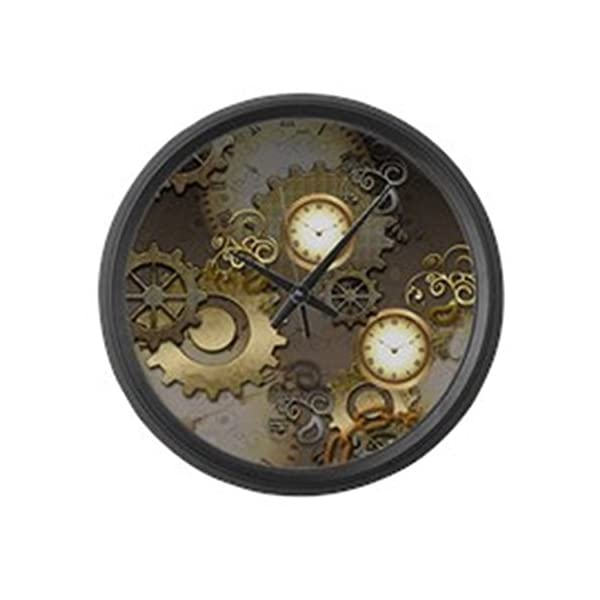 """CafePress - Steampunk, Clocks and Gears - Large 17"""" Round Wall Clock, Unique Decorative Clock 3"""