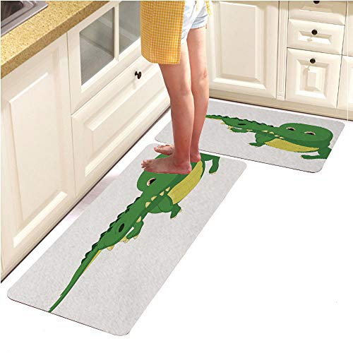 (Anti Fatigue Kitchen Floor Mat,Set of 2,Waterproof,Non Slip,Eco-Friendly Safe Material,Crocodile cartoon1 (15