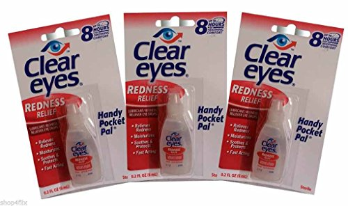 Clear Eyes Redness Relief Pack of 3 0.2 FL OZ (6 ml) - Handy Pocket Pack