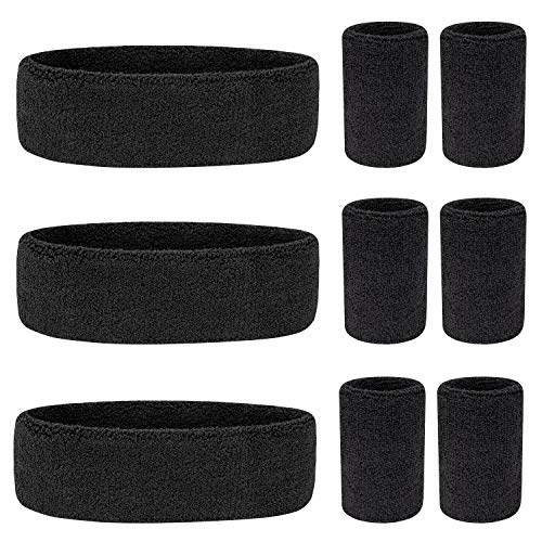 Awpeye 9 Pieces Sweatband Set, Including 3 Headband and 6 Wristbands ()