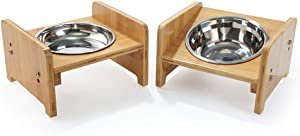 FOREYY Set of 2 Raised Pet Bowls for Cats and Small Dogs - Bamboo Tilted Single Elevated Dog Cat Food and Water Bowls Stand Feeder with 3 Stainless Steel Bowls and Anti Slip Feet for Comfort Feeding