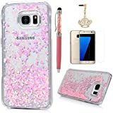 S7 Edge Case,Samsung Galaxy S7 Edge Case - Flowing Liquid Floating Bling Glitter Sparkle Pink Love Hearts Hard...