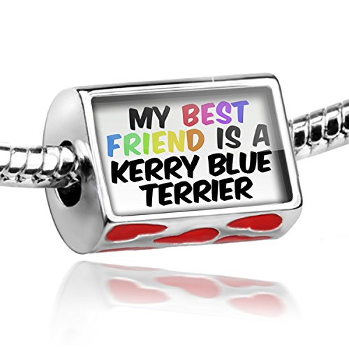 Blue Charm Terrier Dog Kerry (NEONBLOND Bead with Hearts My best Friend a Kerry Blue Terrier Dog from Ireland - Charm F)