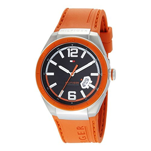 Tommy Hilfiger Men's 1790726 Logo Embossed Stainless Steel Orange Silicon (Retrograde Silver Dial)