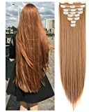 FUT Hair Extensions Double Weft Clip In Full Head 8pc 18 Clips Synthetic Hair Pieces Straight 23inch 175g For Girl Lady Women Ginger Brown