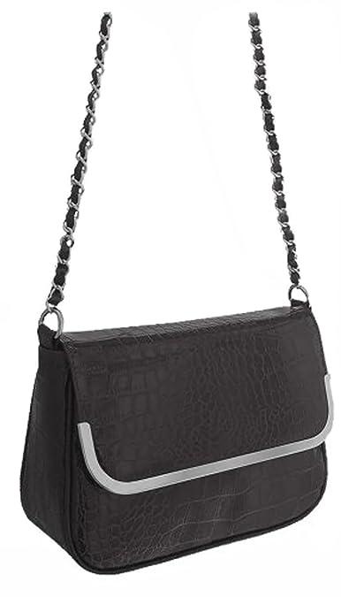 4a98c10915 EyeCatch - Chloe Croc Effect Faux Leather Patent Shoulder Bag