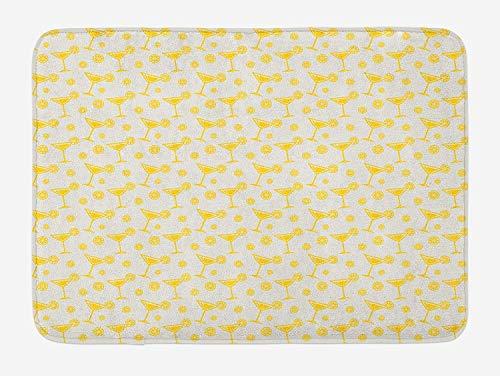 Weeosazg Geometric Bath Mat, Polynesian Drinks with Lemon Summer Time Cocktails Pattern Drinking Having Fun, Plush Bathroom Decor Mat with Non Slip Backing, 23.6 W X 15.7 W Inches, Yellow White