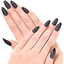 Ejiubas 24 Pcs Black Matte with Glossy Finish Full Cover Talone Medium False...