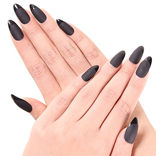 Ejiubas 24 Pcs Black Color Matte with Glossy Finish Full Cover Talone Medium False Nail (Halloween Nails)