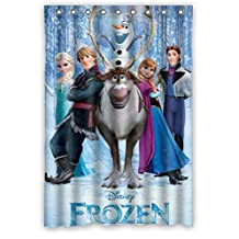 Custom design Eco-Friendly Frozen Cartoon Movie Elsa Anna Olaf Kristoff Sven Shower curtain, (W*H) 48 * 72 inch / 122 * 183cm, Polyester, best for bathroom