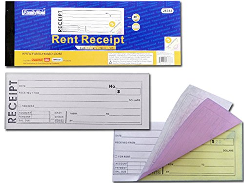 3 Part Rent Receipt Book, 30 Sets 2.76'' x 7.6'' , Case of 96 by DollarItemDirect