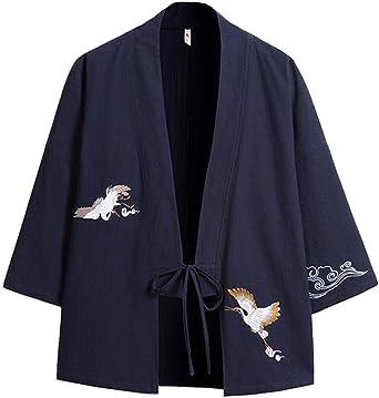 GUOCU Hombre Bordado Cloak Cárdigan Camisa Chaqueta de Kimono Japonesa Casual: Amazon.es: Ropa y accesorios