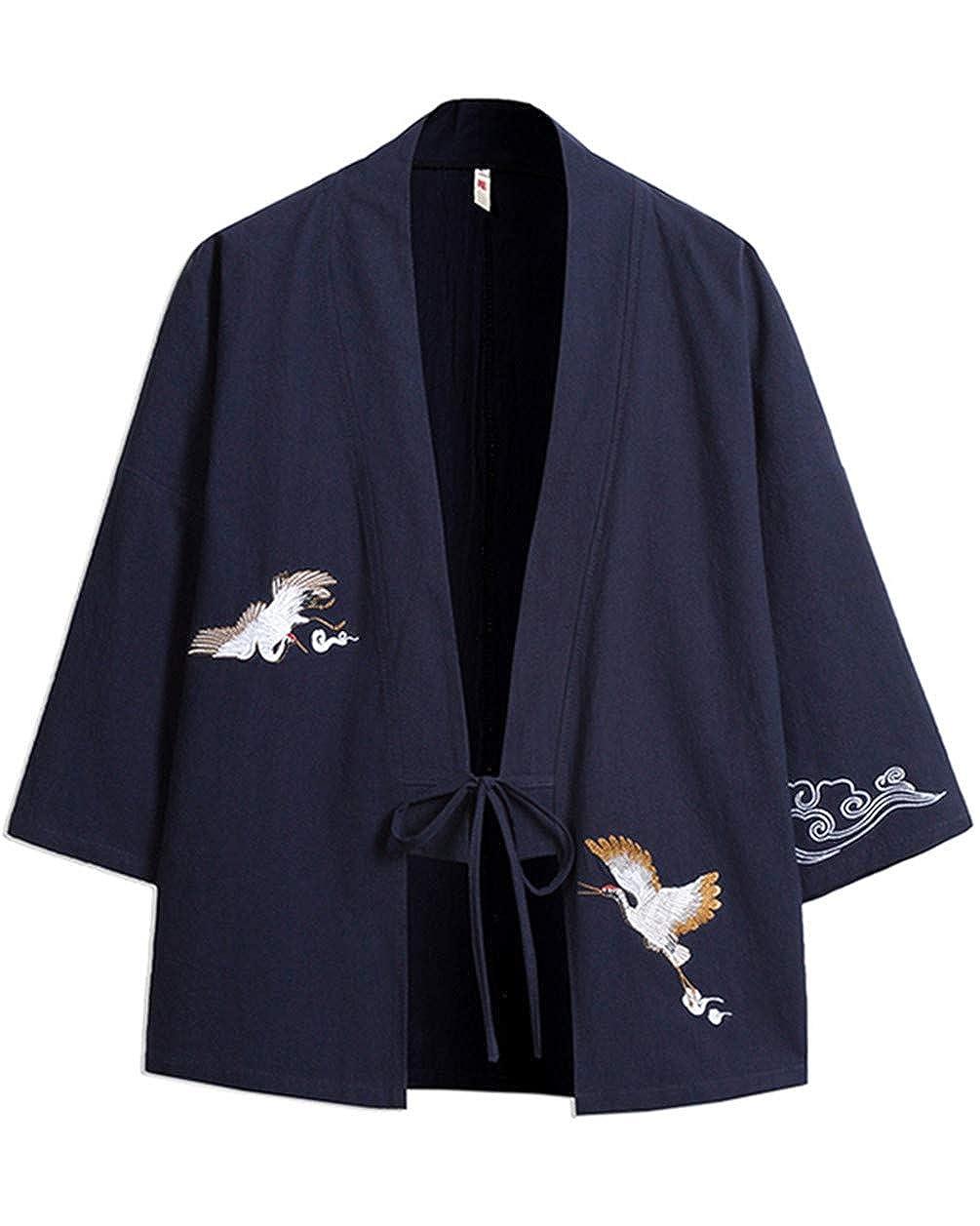 GUOCU Hombre Bordado Cloak Cárdigan Camisa Chaqueta de Kimono Japonesa Casual