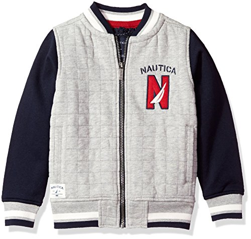 Nautica Little Boys' Varsity Bomber Sherpa Fleece Jacket, Grey Heather, 5/6 (Jacket Kids)
