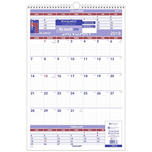 "AT-A-GLANCE 3-Month Wall Calendar, January 2018 - December 2018, 15-1/2"" x 22-3/4"", Wirebound (PM628)"