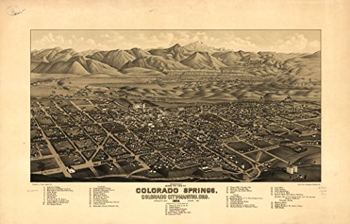 (18 x 23 Old Vintage Antique Panoramic Map of: c.1882 Panoramic Bird's Eye View of Colorado Springs, Colorado City and Manitou, Colo 1882 Professionally Reprinted)