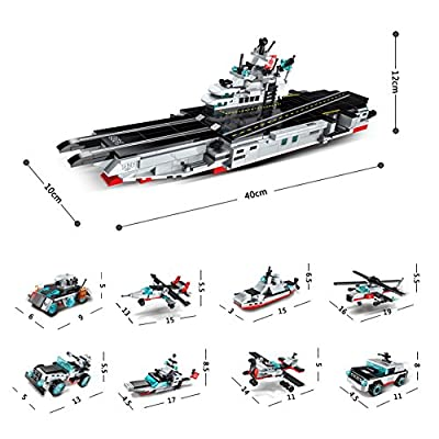 Enlighten Military Series Building Block 8in1 Nuclear-Powered Aircraft Carrier 643pcs - No Original Box