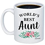 MyCozyCups Gifts For Aunt - World's Best Aunt Coffee Mug - Funny Cute 11oz Novelty Gift Idea Cup For Auntie, Best Friend, Sister - Birthday, Christmas, Mother's Day Present From Niece, Nephew, Family
