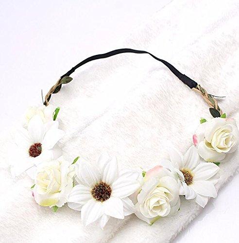 Sun Glower Puntelli da Prestazione Turismo Copricapo Artificiale Rosa e Sole Flower Hair String_White