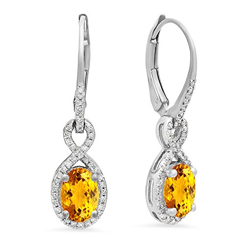 Earrings And Diamond Citrine (10K White Gold Oval Citrine & Round White Diamond Ladies Infinity Dangling Earrings)