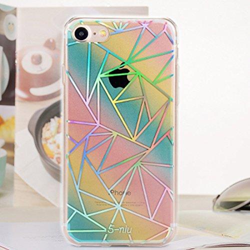 Wkae Blenden Sie Farbe Elegantes Gitter-Laser-Muster-volle Abdeckung IMD-Kunstfertigkeit-Galvanik TPU weicher Rand + PC schützender rückseitiger Abdeckungs-Fall für iPhone 6s