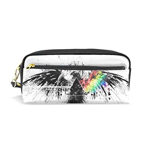 Spray Makeup Pouch - Pink Floyd Bird Graphics Spray Colors Print Pu Leather Pen Pencil Case Pouch Case Makeup Cosmetic Travel School Bag
