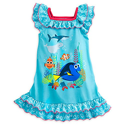 Disney Store Girls Finding Dory Nemo Short Sleeve Blue Bubble Night Gown  7 8
