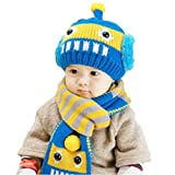 acefast inc toddler - Winter Infant Baby Toddler Kid Hat Wool Knitted Crochet Beanie Cap Scarf Set (Blue)