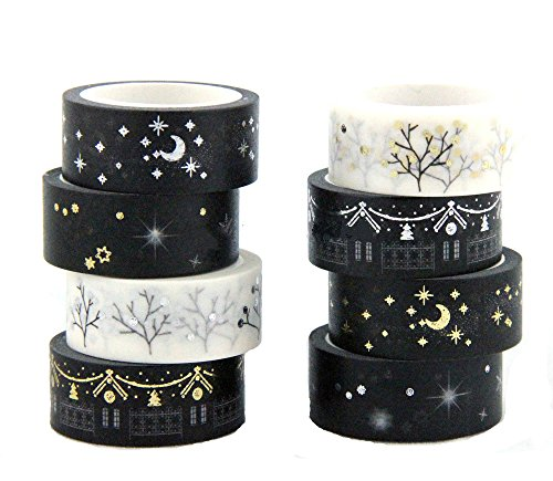 Yalulu 8 Rolls Washi Masking Tape Sticker with Moon Stars Designs for Scrapbooking DIY Gift Wrapping Office Party Supplies