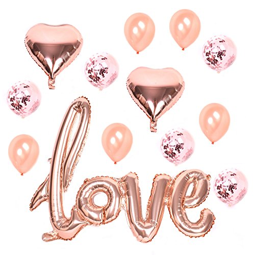 Young Tag Rose Gold Love Balloons Kit - Valentines Day Decorations and Gift for Him Or Her - Rose Gold Foil Heart Balloons - Rose Gold Decorations - Valentines Balloons, Wedding, Bridal Shower Decor