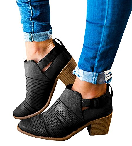 6c7dfeb00255 Daomumen Womens Ankle Buckle Booties Leather Low Heel Chunky Pointed Toe  Boots. Published June 22