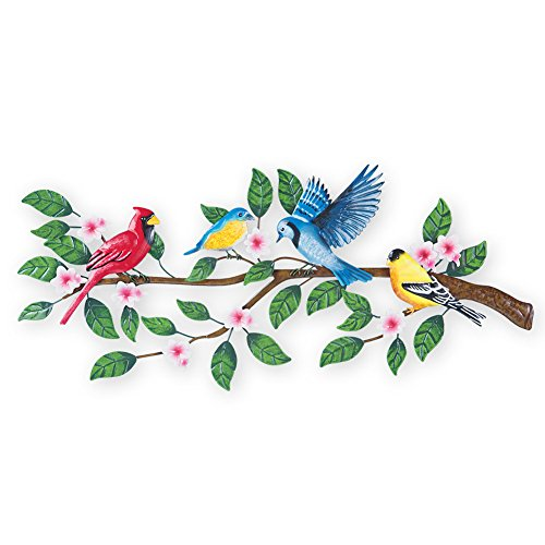 Collections Etc Songbirds on Tree Metal Outdoor Wall Art Sculpture