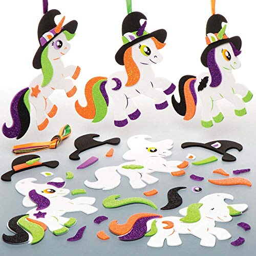 Baker Ross Spooky Unicorn Mix & Match Decoration Kits (Pack of 6) for Kids Halloween Crafts and -