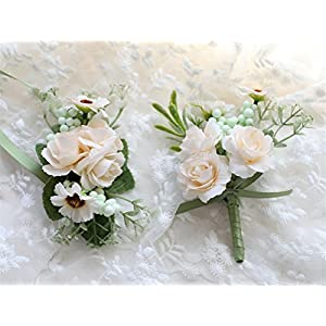 MOJUN Bride Groom Flowers Rose Corsages and Boutonnieres Set Wedding Rose Corsage, Cream 54