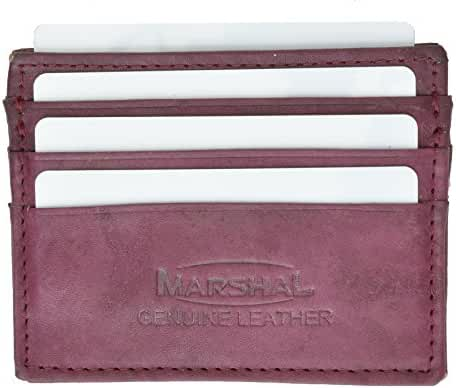Marshal Wallet Leather Card Case Wallet Slim Super Thin 5 Card Slots Front Pocket