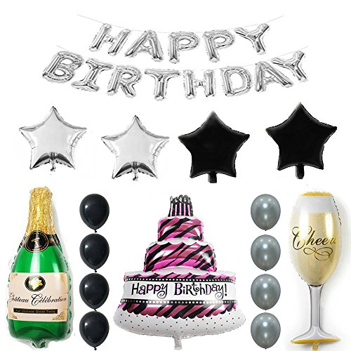 (Ezing Silver Tone Happy Birthday Cake Champagne Cup Bottle Foil Balloon Birthday Party Pack – Black Silver Latex Balloon Decorations Party Supplies (I))