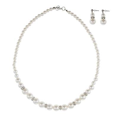 Buy Flawish Imitation Pearl Earrings Necklace Jewelry Set Simple