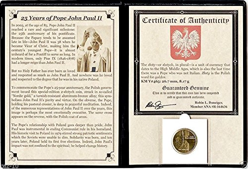 2003 PL 2 złotych Pope John Paul II Coin Commemorating His 25-Year Anniversary with Album & Certificate 2 złotyc Brilliant Uncirculated