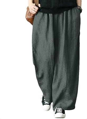 YAKZW Pantalones para Mujer Pantalón Suelto para Mujer Pantalón de algodón Lino Plisado Oversize Amplio pantalón Ancho, XXL: Amazon.es: Hogar