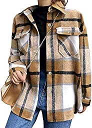 Tanming Womens Brushed Flannel Plaid Lapel Button Short Pocketed Shacket Shirts Coats