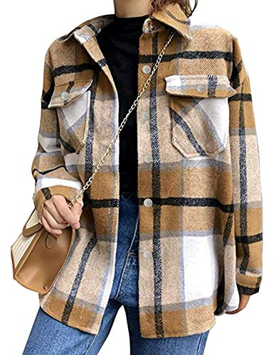 Tanming Womens Brushed Flannel Plaid Lapel Button Short Pocketed Shacket Shirts Coats(Khaki-L)