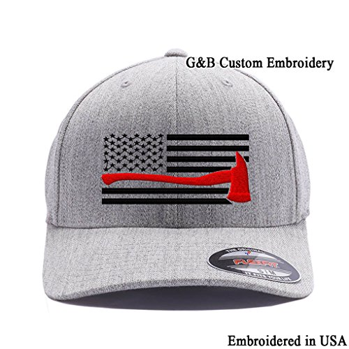 Thin Red Line Axe USA Flag. Embroidered. 6477 Flexfit Wool Blend Cap (L/XL, Heather) -