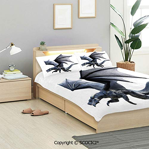 SCOCICI Dragon Bedding Sets 3 Pieces(1 Duvet Cover 2 Pillow Shams) Fantastic Creature Flying Effects Featured Wings Illustration Duvet Cover Sets for Kids/Twin/Single All Seasons