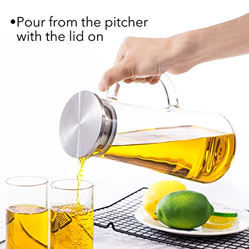 50 Ounces Glass Pitcher with Stainless Steel Lid Water Carafe for Juice and Iced Tea by SMAGREHO (Image #1)
